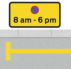 Single yellow lines time restricted sign